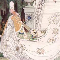 "Here we show a portion of ""Cinderella"" - a design by Kay Nielsen from a suite inspired by the Fairy Tales of Charles Perrault."
