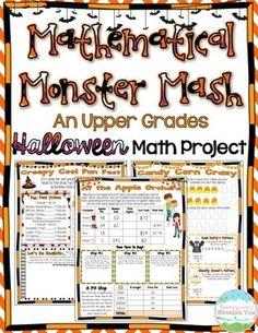 Mathematical Monster Mash: A Halloween Math Project for BIG KIDS! Fall is in the air, and students are already buzzing with excitement! This 11 page Halloween math project will keep your kids engaged in learning, BEFORE and AFTER they have gone Trick or Treating!  Reviews Place Value, Operations, Elapsed Time, Measurement, Decimals, Fractions, Data and Graphing, and SO MUCH MORE!$