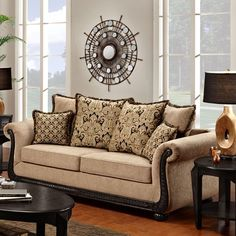 Washington Furniture 6000 Traditional Rolled Arm Sofa with Scrolled Wood Trim - Ivan Smith Furniture - Sofa Arkansas, Louisiana, Texas Furniture, Appliances & Mattress Stores