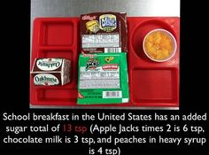 We have to STOP serving children #obesogenic food at school.  @LetsMove had a mission of reversing #childhoodobesity SO WHY are #FruitLoops #chocolatemilk & peaches in heavy syrup still being served to our most vulnerable children?  We need action. #foodjustice is #socialjustice and the @WHO & @AHA recommend less #SUGAR then a child receives by just eating breakfast at school. #T2DM #diabetes #healthequity #LetsMove #FLOTUS @marydr7ade #courage #SoundTheBell