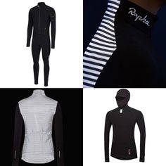 The cats at @rapha have gone into winter mode. Continuing the deep dive on their program, women's and thermal line new products abound. Top left is the new pro team thermal aero suit, some images of the lux women's souplesse jacket with its visibility shining bright and the deep winter base layer.