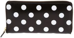 $287, Black Polka Dot Clutch: Comme des Garcons Comme Des Garons Wallet Polka Dots Printed Wallet. Sold by farfetch.com. Click for more info: https://lookastic.com/women/shop_items/72075/redirect