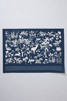 Flora and fauna navy print
