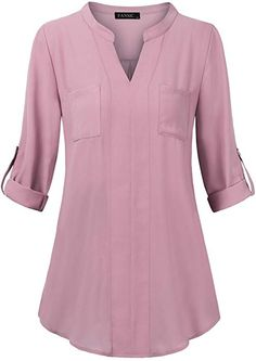 Long Sleeve Blouses for Women, FANSIC V Notch Neck Roll Up Sleeve Shirts Ladies Blouses for Career Meeting Blouse Pink Small at Amazon Women's Clothing store: