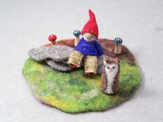 tiny felted gnome and accessories (Etsy items from different stores)