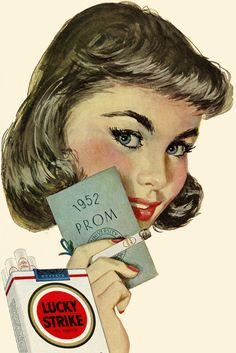 """1952 """"LUCKY STRIKE"""" AD. NOTHING SAYS PROM LIKE CIGARETTES."""