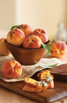Enjoy Oregold Peaches on their own or pair them with blue cheese... or any kind of cheese.