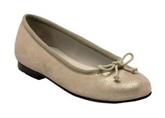 Gold glitter style casual girls shoes with a slip on design.