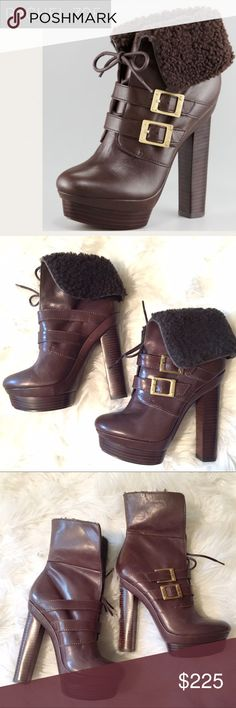 """NWT Rachel Zoe Piper Shearling Convertible Bootie Round toe Lace-up with foldover or flip up shaft lined in sheep fur. Island platform base with towering stacked heel. Size 7. 5.5"""" heel. 1.5"""" platform. No box. Rachel Zoe Shoes Ankle Boots & Booties"""