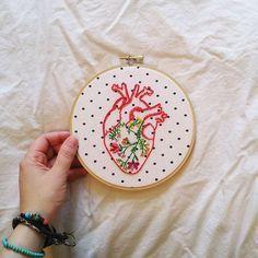 Handy Crafts تطريز قلب الفالانتاين Embroidery For Valentine Embroidery Hearts Valentine Embroidery Embroidery Heart Pattern