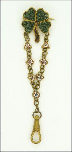 Victorian Italian Micro-Mosaic Shamrock Clover Watch Chain Pin