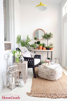 Before and After: With a little help from Pinterest and HomeGoods this small Sunroom gets a summer makeover. A few key elements Danielle wanted to really make the space hers: 1. comfortable seating with a footrest to kick back and relax after a long day 2. an indoor herb garden for healthy meal planning 3. an overall aesthetic that blended well with the rest of her neutral, minimalistic design. To get to action, we made home ours by visiting our local HomeGoods store for inpiration! You can…