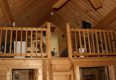 small log cabin loft space