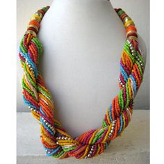 Multi Color Twisted Statement Necklace/Chunky Necklace/Bib Necklace/Beaded Necklace - Costume Jewelry for Women - deal gift Handcrafted Jewelry, Unique Jewelry, Summer Necklace, Bohemian Necklace, Metal Beads, Beaded Embroidery, Gemstone Beads, Statement Earrings, Beaded Jewelry