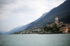 Every time I visit Lake Garda in Italy, I go to te town Malcesine. This town is across Limone sul Garda and at the foundation of the Monte Baldo. You can see the castle at the lakeside. Lake Garda, Photo S, Foundation, Castle, River, Sun, Mountains, Places, Holiday