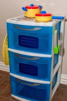Diy Kids Kitchen, Kitchen Sets For Kids, Toy Kitchen, Play Kitchens For Toddlers, Mini Kitchen, Plastic Storage Shelves, Plastic Drawers, Plastic Pots, Storage Bins