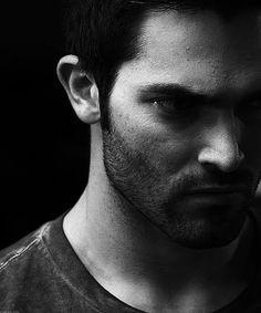 Another intense black and white Tyler Hoechlin as Derek Hale.