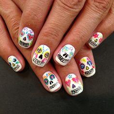 halloween sugar skull nail art by kawaii_nails_tustin_ca Cute Halloween Nails, Halloween Nail Designs, Cute Nail Designs, Halloween Halloween, Love Nails, Fun Nails, Pretty Nails, Sugar Skull Nails, Sugar Skulls