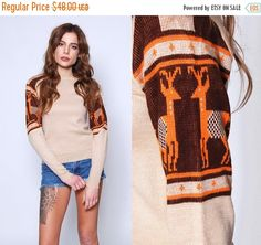 ON SALE Vintage 70s Tan REINDEER Sweater Novelty by LotusvintageNY #70s #sweater #pullover #winter #skisweater #reindeer #christmassweater #boho #vintage #etsy