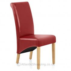 Dine in style this Valentine's with the sumptuous Carlo Oak Chair Red Leather.