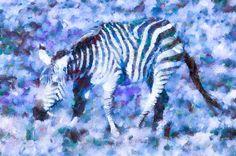 Blue Zebra Art by Priya Ghose - Blue Zebra Fine Art Prints and Posters for Sale #art #zebra #animals