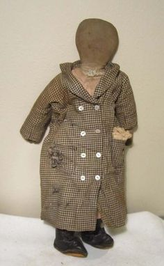EARLY HANDMADE 19TH CENTURY RAG DOLL PENCIL FACIAL FEATURES MITTEN HANDS #Americana