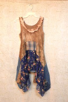 REVIVAL Boho Shirt, Shabby Chic Romantic, Bohemian Junk Gypsy Style, Mori Girl, Lagenlook, Cowgirl Country Girl Chic, Free People Style, Anthropologie Inspired, Coachella Music Festival Shirt
