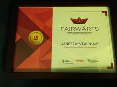 Zweiter Preis im Ideenwettbewerb für nachhaltigen Tourismus #Fairwaerts #janbecksfairhaus #sustainable #tourism