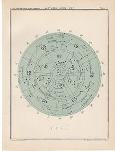 1910 northern index rare celestial star map by antiqueprintstore, $25.50