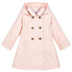 Baby girls pale pink, cotton coat by Tartine et Chocolat. This lovely coat has a neat, button-trimmed pleat detail at the back, with logo buttons on the double-breasted front. White braid trims the sleeves, collar and down the front and the hood is detachable. This very pretty coat is perfect for warmer days.