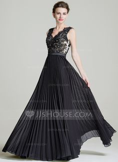 A-Line/Princess V-neck Floor-Length Chiffon Mother of the Bride Dress With Beading Sequins Pleated (008072723)
