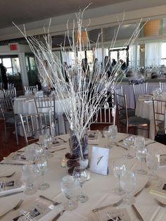 Winter wonderland themed shower. #winterwonderland #whiteshower #bridalshower #centerpieces