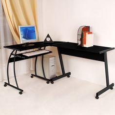 buy walker edison soreno corner desk black with black glass desks free delivery possible on eligible purchases black glass office desk