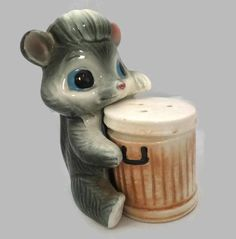 Vintage Skunk and Trash Can Salt and Pepper Shakers Ceramic Retro Anthropomorphic  Kitchen Collectible