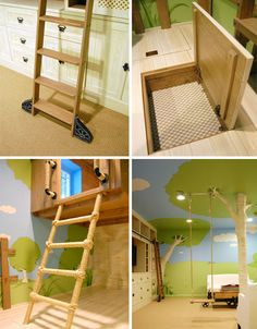 There are a lot of ways to make a nice bedroom, but for kids there is an element of excitement that is just as important as bedroom size and style. As these pictures illustrate, a cool bedroom for children can be a virtual fantasy world in itself – in this case by making the outdoors the driving interior design idea and central concept of the bedroom space.
