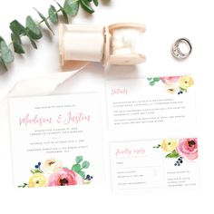Our Spring wedding invitation suite is printed on bright white card and features a sweet, floral design. Includes an invitation, RSVP, details card + envelope. Wedding Suite, Wedding Invitation Suite, Spring Wedding Invitations, Wedding Stationery, Card Envelopes, Seating Charts, Rsvp, Bliss, Floral Design