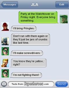 Texts From Superheroes. Justice League party.