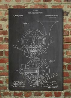 Hey, I found this really awesome Etsy listing at http://www.etsy.com/listing/129957678/french-horn-patent-1914-wall-art-poster