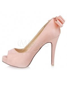 Feminine Pink Satin Bow Women's Peep Toe Shoes - Milanoo.com