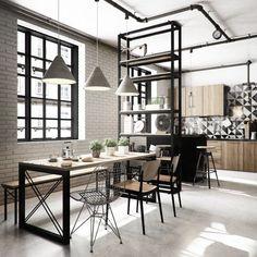 loft industriel à touche scandinave et crédence cuisine noire et blanche