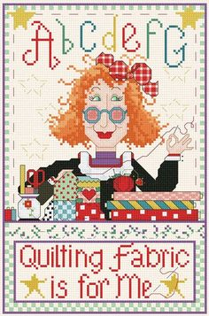 0 point de croix lady quilting is for me - cross stitch