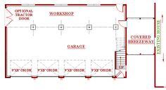 4 bay garage, workshop plan