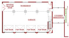 4 bay garage, workshop plan