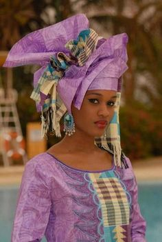 I love this mix, Nigerian(Yoruba) and Senegal mixed culture. African Dresses For Women, African Attire, African Wear, African Women, African Style, Ghanaian Fashion, African Fashion, Nigerian Fashion, African Head Wraps
