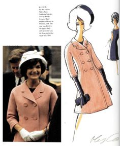 Oleg Cassini -Sketch Not Chanel pink but might as well be on Jackie O