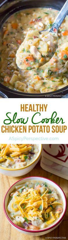 Amazing Healthy Slow Cooker Chicken Potato Soup | http://ASpicyPerspective.com