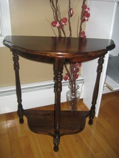 Refinished half moon, family owned  vintage table circa 1930's