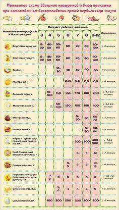 Примерная схема введения прикорма для ребенка на грудном вскармливании. (Клик для увеличения) Baby Corner, Kids Corner, Happy Parents, Babies First Year, Baby Health, Child Development, Pediatrics, Kids And Parenting, Baby Food Recipes