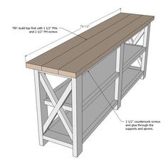 Ana White Build a Rustic X Console Free and Easy DIY Project and Furniture Plans Diy Furniture Plans, Pallet Furniture, Furniture Projects, Rustic Furniture, Furniture Design, Furniture Market, Console Furniture, Bedroom Furniture, Simple Furniture