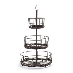 Madeline Two-Tier Standing Basket | Sur La Table